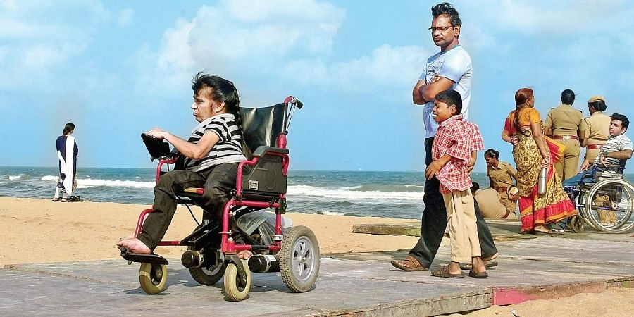 Wheelchair users at Marina Beach on World Disability Day (Photo| EPS/ Martin Louis)