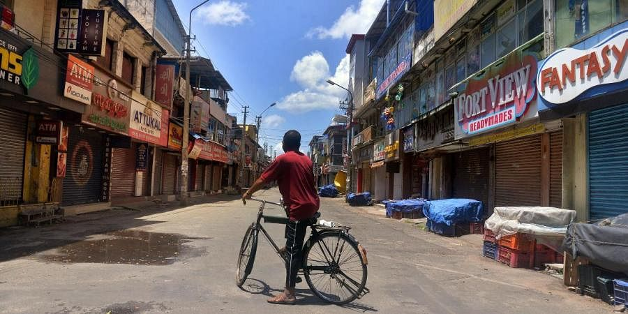 With the triple lockdown in place the Chalai Bazar in Thiruvananthapuram wears a deserted look