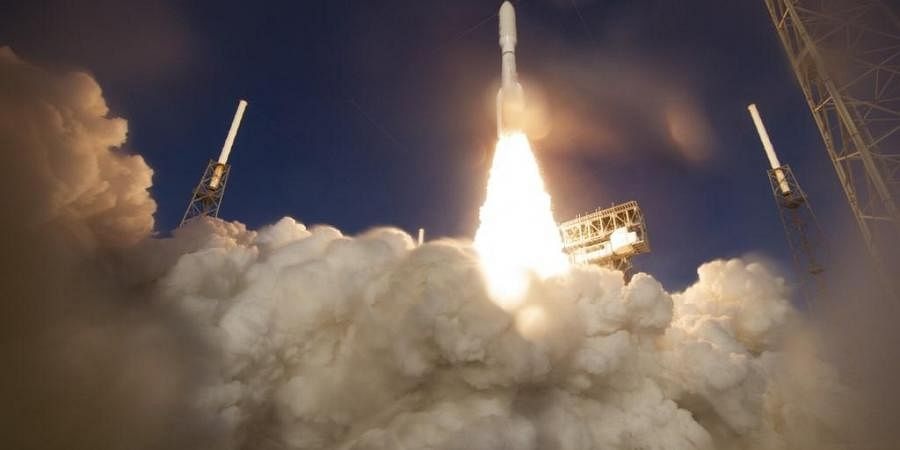 This NASA photo shows a United Launch Alliance Atlas V rocket with NASA's Mars 2020 Perseverance rover onboard