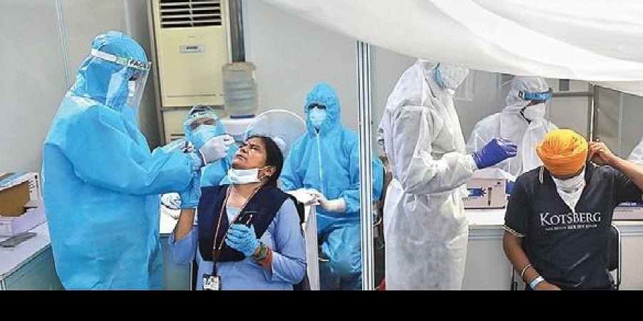 A Covid-19 test study camp at RML Hospital in New Delhi.