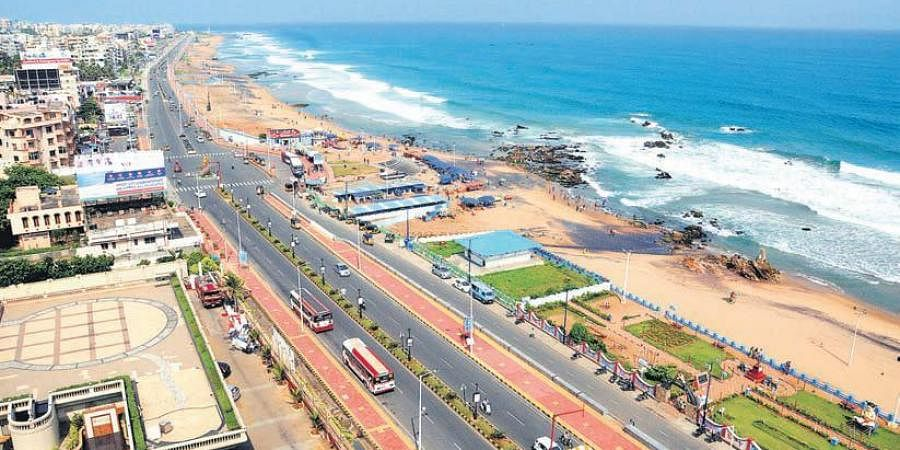 An aerial view of Rama Krishna Beach Road in Visakhapatnam