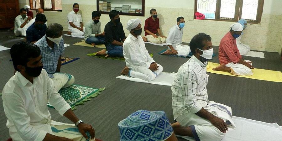 Devotees offering Bakrid special prayer at Vayalali Mahallu Juma Masjid, Perambra in Kozhikode