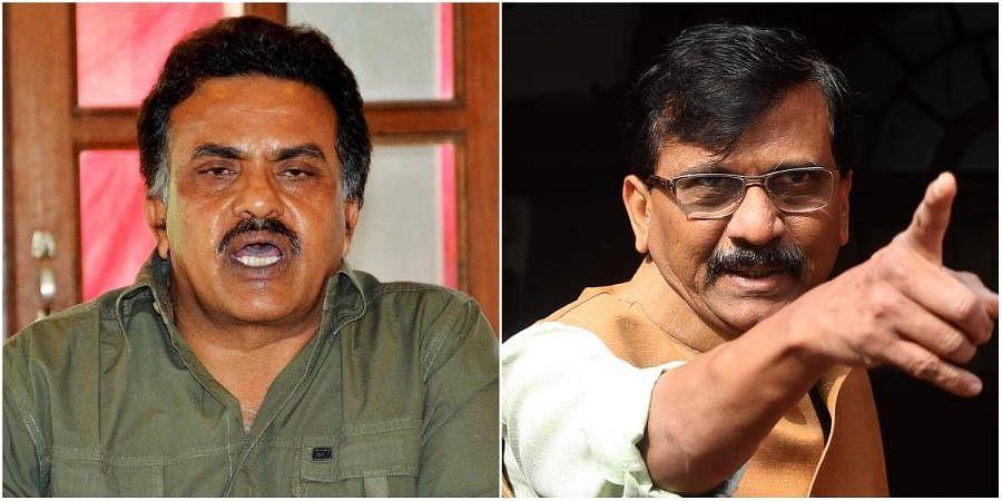 Congress leader Sanjay Nirupam (L) and Shiv Sena MP Sanjay Raut