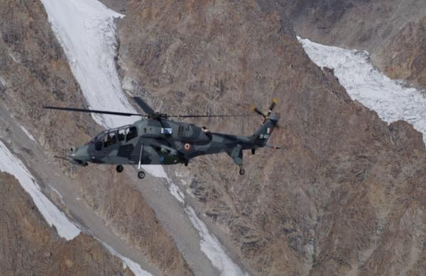 Two Light Combat Helicopters produced by HAL deployed for operations at Leh