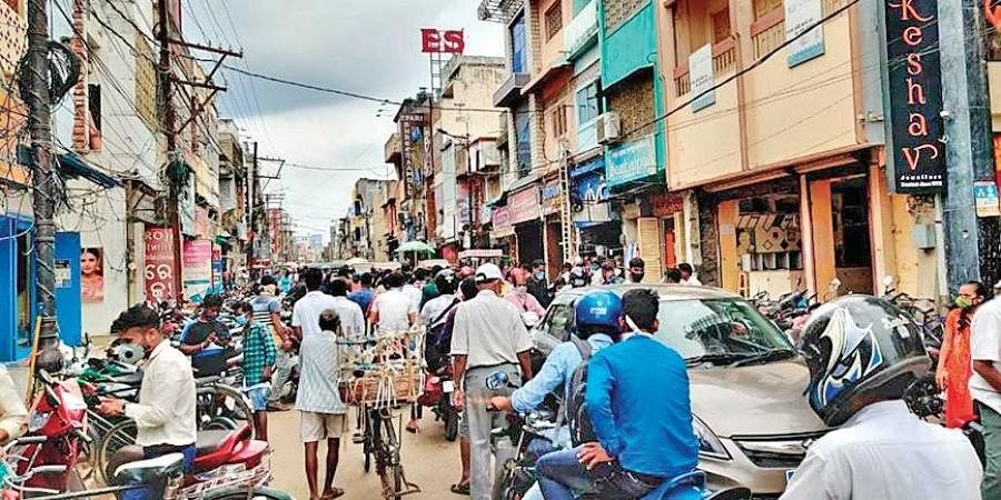 A crowded Bada Bazaar area in Berhampur of Ganjam district on Thursday.