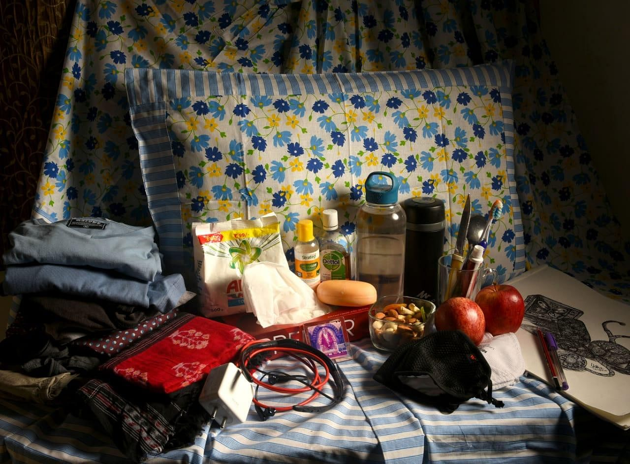 Go Prepared - It is important to go prepared, here are few things one should not forget while going to govt covid care centres: Bedsheet, pillow, mobile charger, some easily washable cloths, detergent powder, hand sanitiser, antiseptic liquid, soap, three or four pairs of re-usable masks, thermoflask, water bottle, and anything else for timepass. (Photo | EPS/Shiba Prasad Sahu)