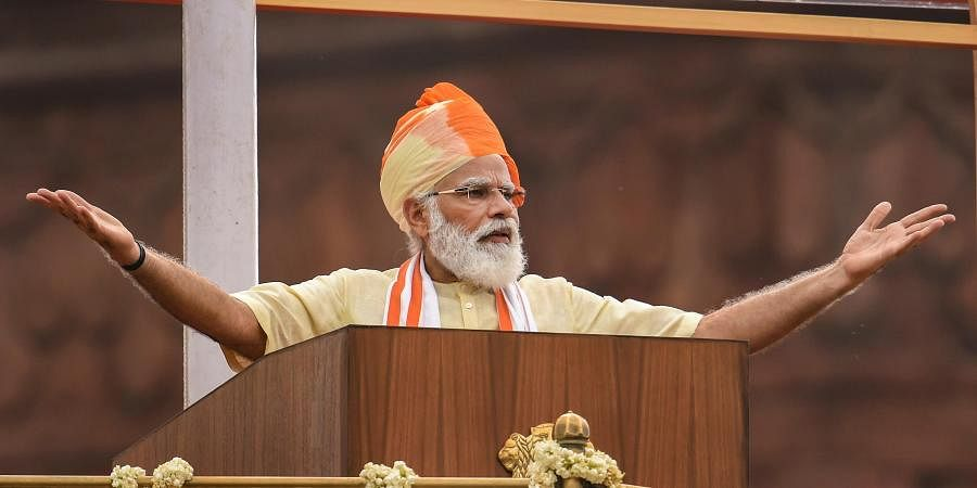 Prime Minister Narendra Modi addresses the nation during the 74th Independence Day celebrations at Red Fort in New Delhi. (Photo | PTI)