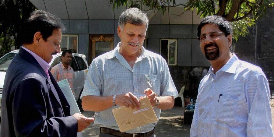 (From left) Chetan Chauhan, Roger Binny and Krishnamachari Srikkanth after attending BCCI technical committee meeting in Mumbai