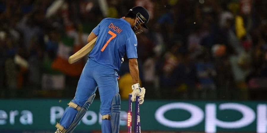 Mahendra Singh Dhoni pulls up the stumps. (Photo | AFP)