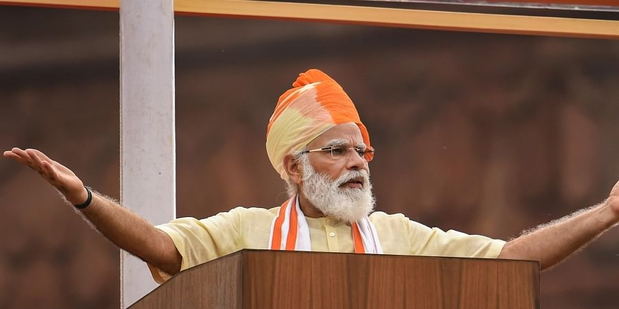 Prime Minister Narendra Modi addresses the nation during the 74th Independence Day celebrations at Red Fort in New Delhi. (Photo   PTI)
