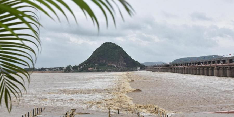 Flood water released from the Prakasam barrage in Vijayawada
