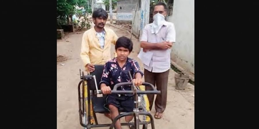 P Balaji, a Class 10 student of Palakonda was given a tricycle by the district administration after TNIE took up the issue with District Collector J Nivas.