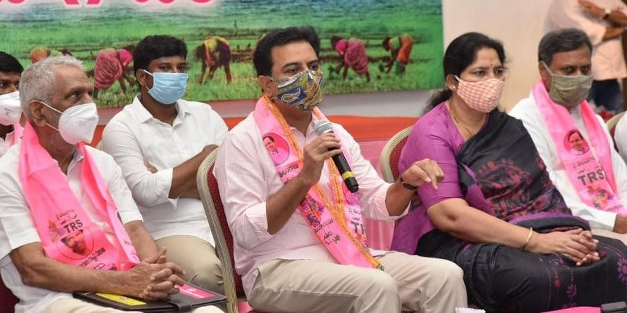 TRS working president and IT Industries minister KT Rama Rao addressing a small gathering at Telangana Bhavan in Hyderabad