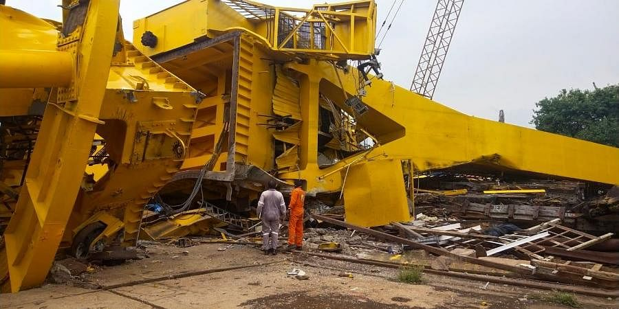 The crane which collapsed at the Vizag shipyard