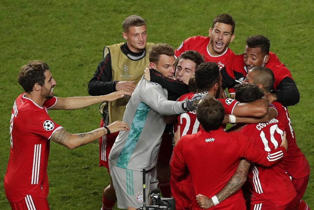 Bayern's players celebrate after winning the final whistle in the Champions League.  (Photo | AP)