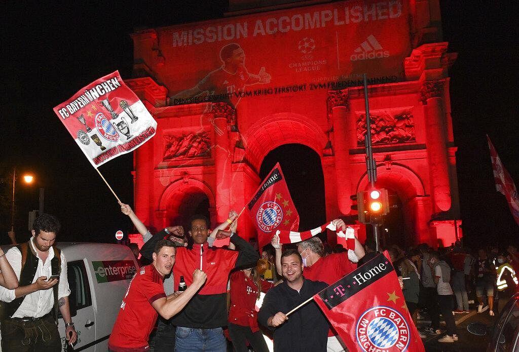 Bayern fans celebrate in Munich, Germany Sunday, Aug. 23, 2020 after Bayern won the Champions League final. (Photo | AP)