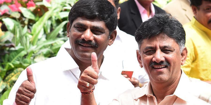 Bengaluru Rural MP DK Suresh with KPCC president DK Shivakumar