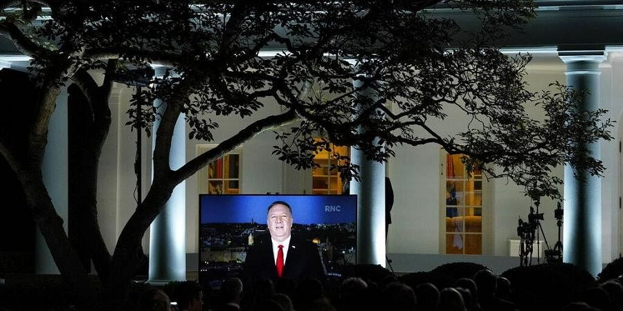 A video of Secretary of State Mike Pompeo speaking during the Republican National Convention plays from the Rose Garden of the White House, Tuesday, Aug. 25, 2020, in Washington. (Photo | AP)