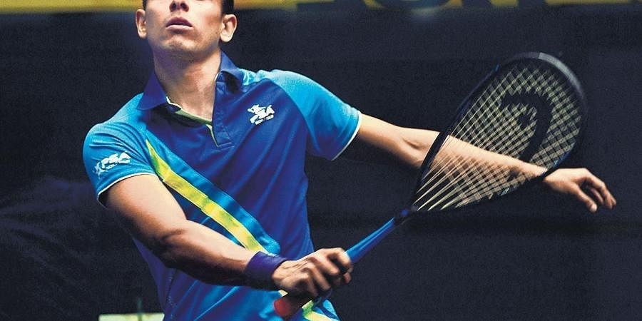 Saurav Ghosal trains in Chennai for the upcoming squash nationals.