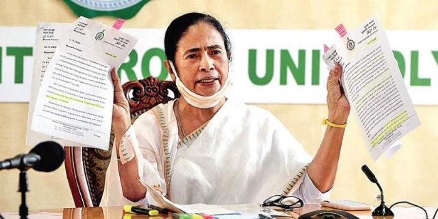 Bengal CM Mamata Banerjee at the virtual meeting of opposition leaders.