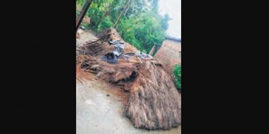 A thatched house damaged due to flood in Tirtol block (Photo | EPS)