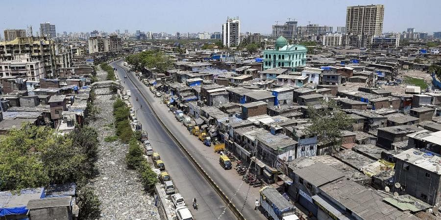 A view of deserted roads near Dharavi during the lockdown.