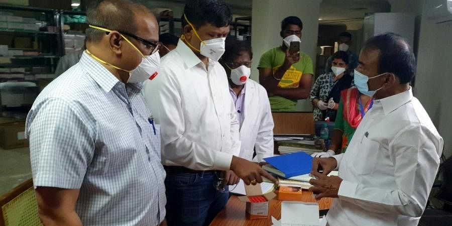 Telangana Health Minister Eatela Rajender visited TIMS hospital and interacting with COVID-19 patients at Gachibowli in Hyderabad