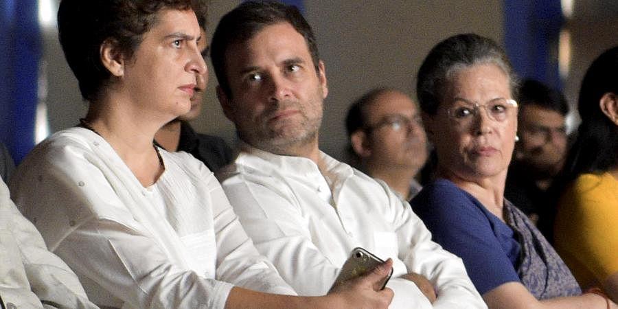 Sonia Gandhi, Rahul Gandhi and daugther Priyanka Gandhi. (Photo | PTI)