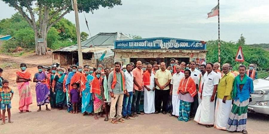 BJP's Ariyalur district president K Iyyappan at a village near Sendurai during a membership drive.