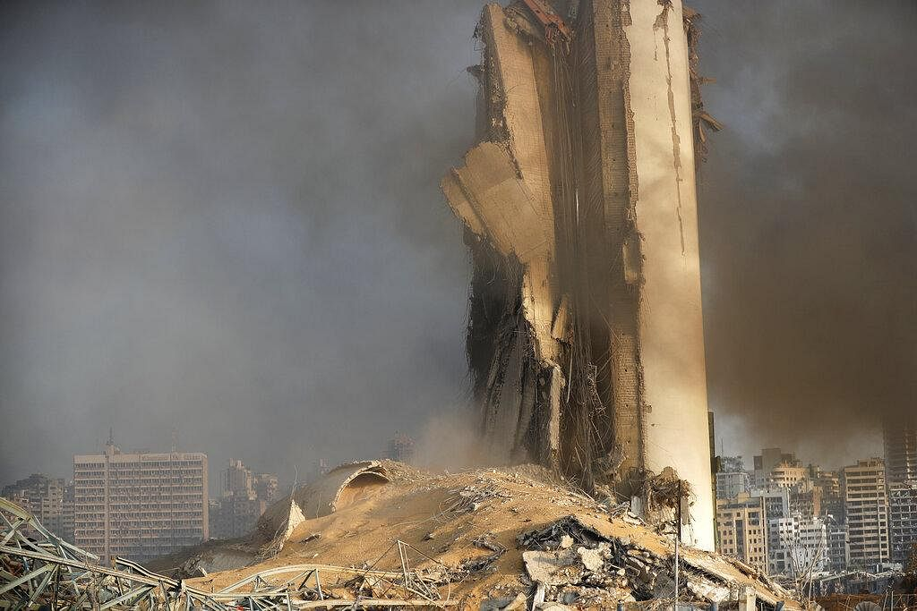 A silo sits in rubble and debris at the scene of an explosion that hit the seaport of Beirut, Lebanon, Tuesday, Aug. 4, 2020. (Photo   AP)