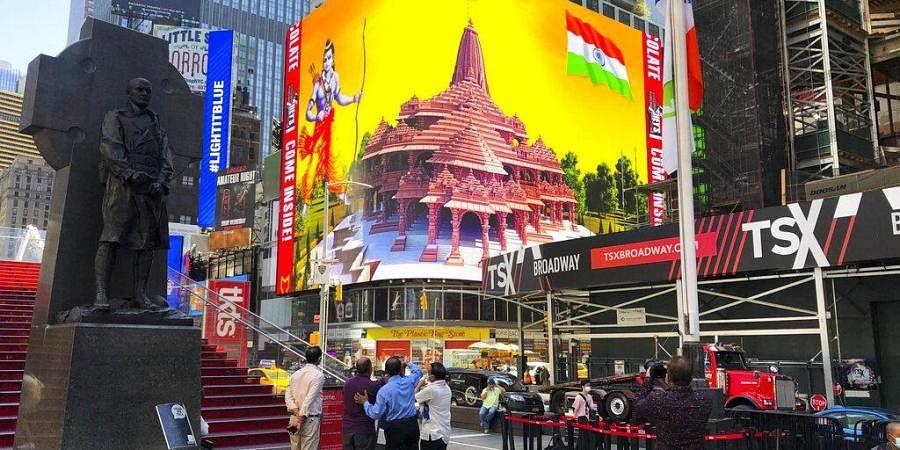 Ram Mandir digital billboard comes up in New York's Times Square.
