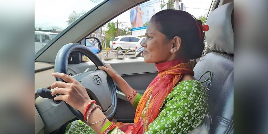 A woman who underwent driving training.