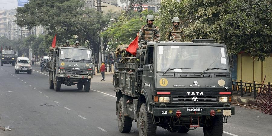 Indian army conduct flag march on the second day of curfew imposed by authorities following anti-citizenship amendement bill CAB protests in Guwahati Friday Dec. 13 2019. (Photo   PTI)