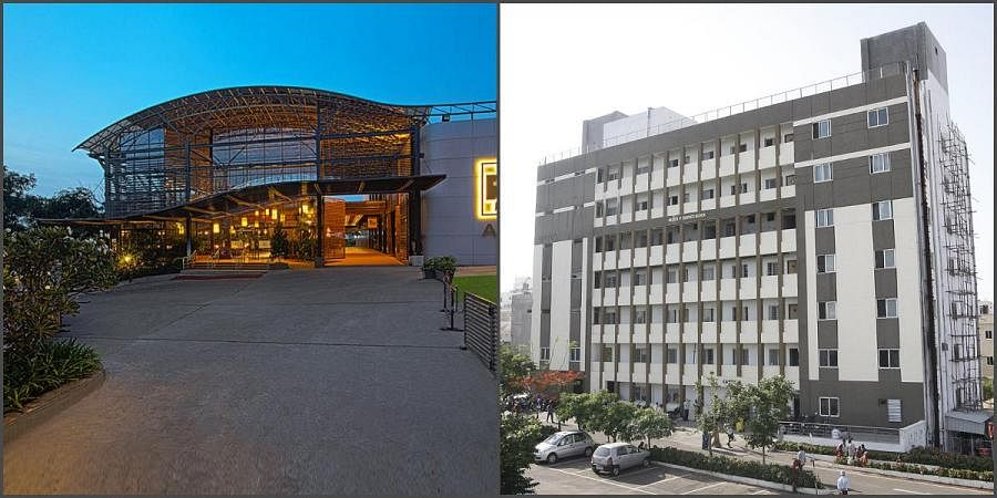 Apollo Hospital (L) and Basavatarakam Indo-American Cancer Hospital in Hyderabad