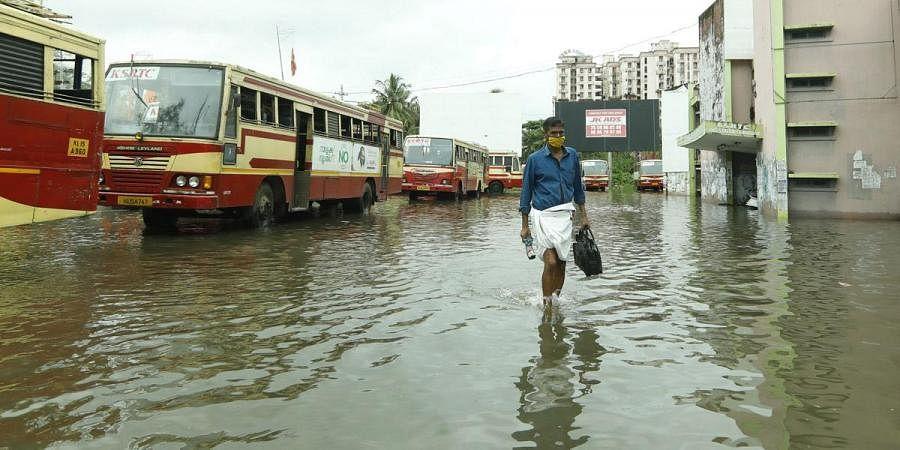 Flooded KSRTC bus station in Kochi