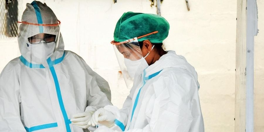 Medical staff at a Covid-19 testing centre in Hyderabad