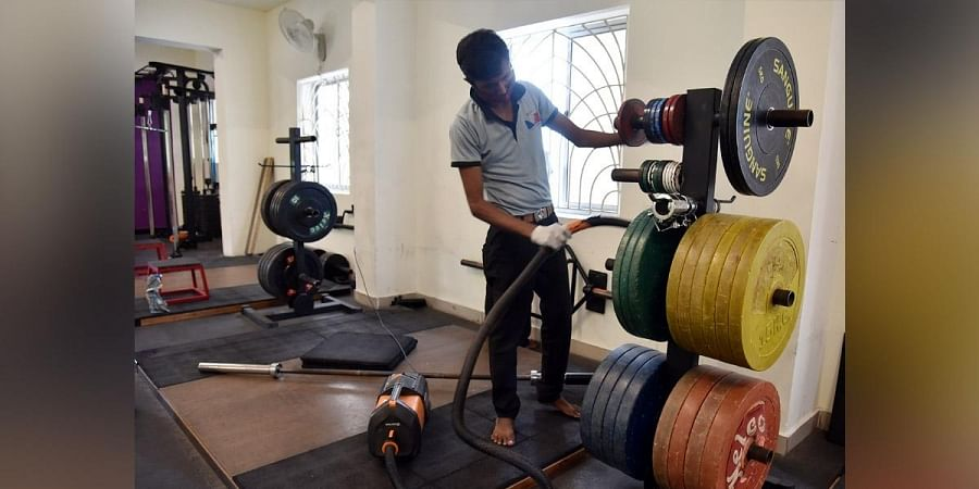 Cleaning and sanitising work in progress at a gym in Chennai