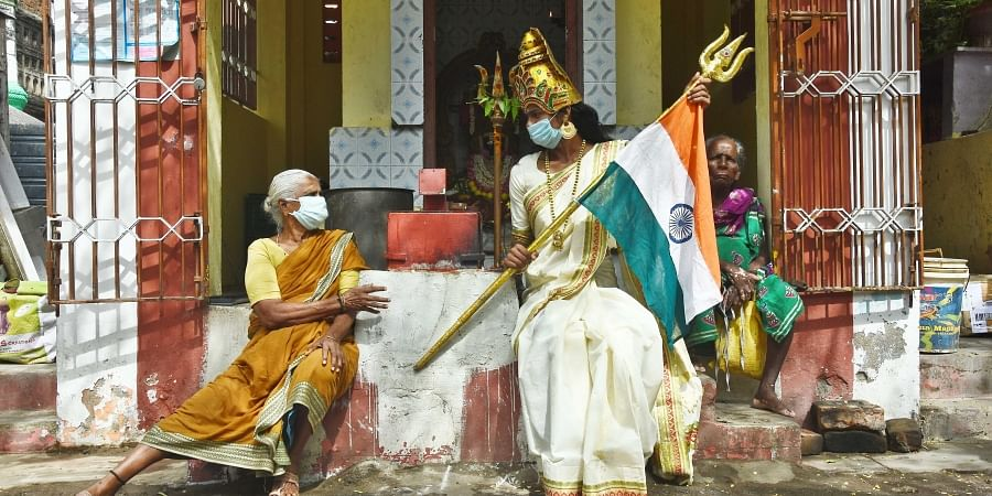 A transgender woman dresses up as a Goddess to help the city corporation create awareness as part of its Community Intervention Programme at Mylapore.