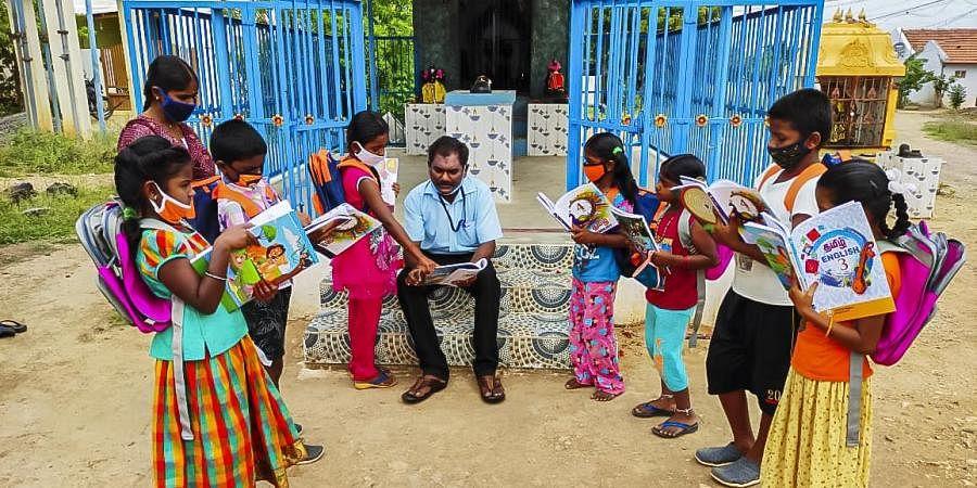 K Moorthi of Paramathi is the headmaster of a Panchayat Union Primary School (PUPS).