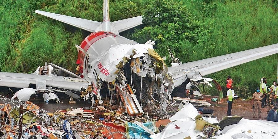 The mangled remains of the Air India Express flight at Kozhikode airport   MANU R MAVELIL