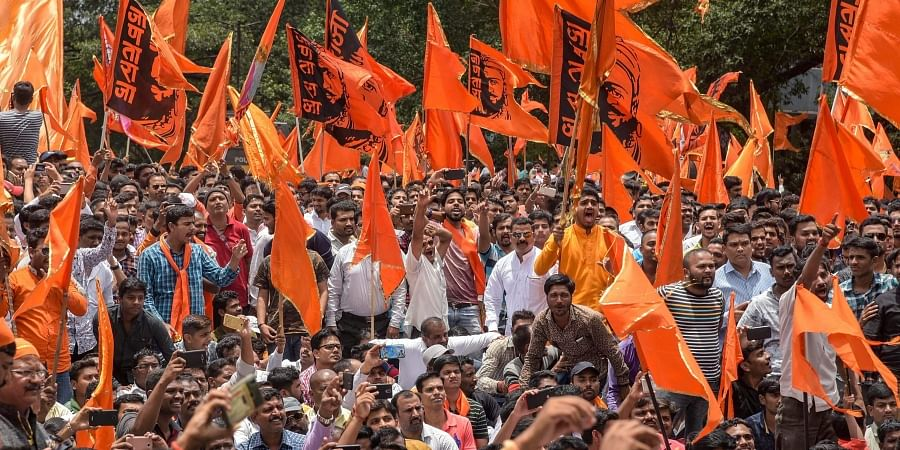 Maratha Kranti Morcha activists during a protest over their demands for reservations.