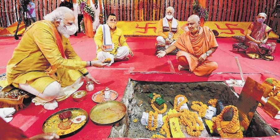 Prime Minister Narendra Modi performs Bhoomi Pujan at Ram Janmabhoomi Mandir, in Ayodhya on Wednesday