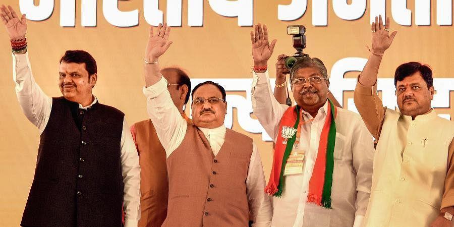 (From Left) Ex-Maharashtra CM Devendra Fadnavis, BJP chief JP Nadda, Maharashtra BJP chief Chandrakant Patil and party leader Pravin Darekar.