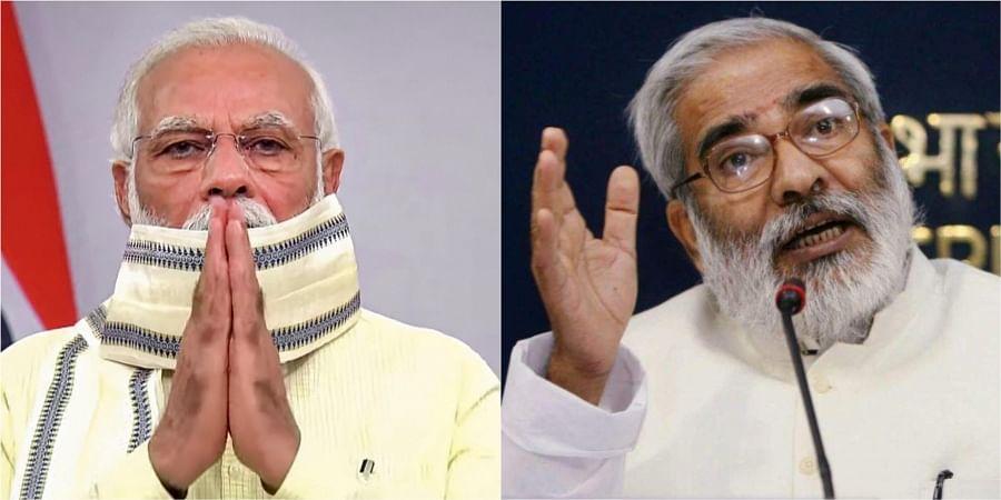 Prime Minister Narendra Modi (L) and Late Union Minister Raghuvansh Prasad Singh (R)