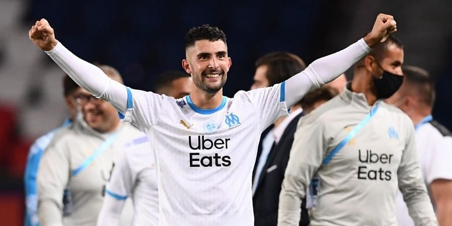 Marseille's Spanish defender Alvaro Gonzalez celebrates after winning the French L1 football match between Paris Saint-Germain (PSG) and Marseille (OM). (Photo | AFP)