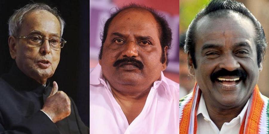From L to R former President Pranab Mukherjee, DMK MLA J Anbazhagan, Congress MP H Vasanthakumar