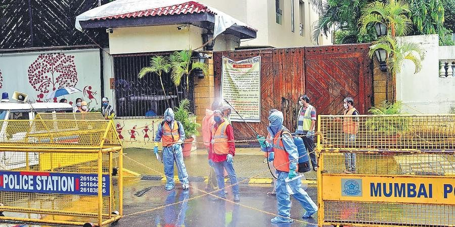 Security tightened outside Jalsa, the residence of Bollywood megastar Amitabh Bachchan, in Mumbai