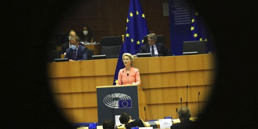 European Commission President Ursula von der Leyen addresses the plenary during her first State of the Union speech at the European Parliament in Brussels
