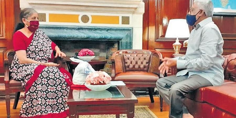 TTD Board of Trustees chairman YV Subba Reddy meets Union Finance Minister Nirmala Sitharaman in New Delhi on Tuesday I Express