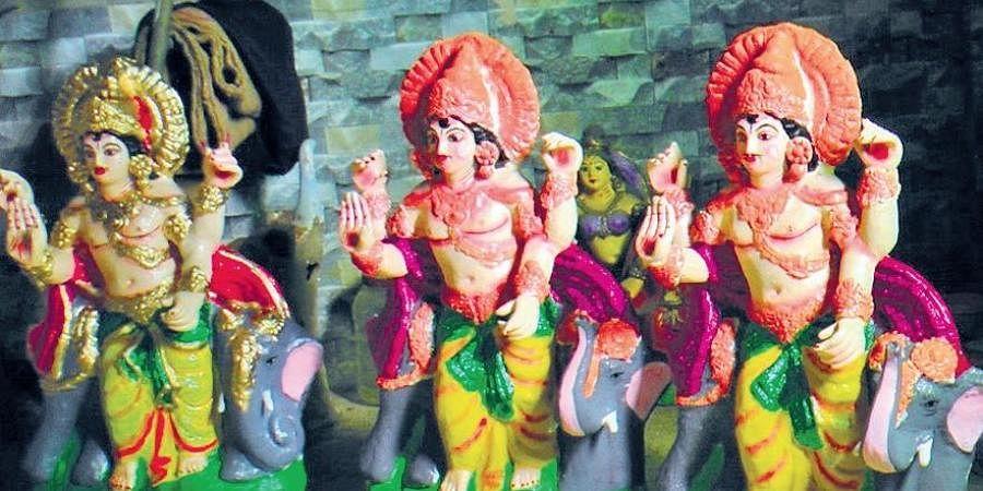 Decked up idols of Lord Vishwakarma in Paradip